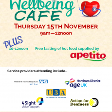 Wellbeing Cafe Thursday 15th November